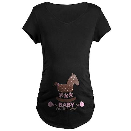 Baby Girl Rocking Horse Maternity Dark T-Shirt