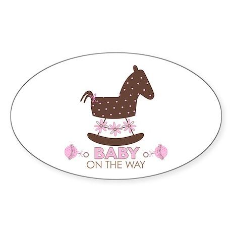 Baby Girl Rocking Horse Oval Sticker