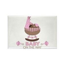 Pink Baby Girl On Way Rectangle Magnet