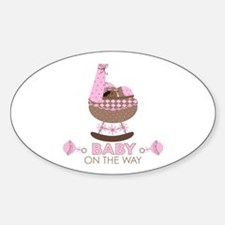 Pink Baby Girl On Way Oval Decal