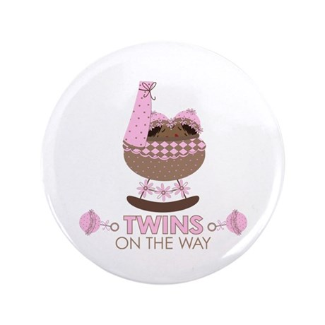 """Twin Girls On Way 3.5"""" Button"""