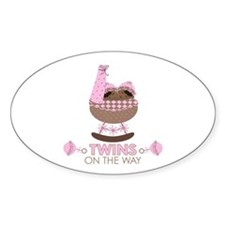 Twin Girls On Way Oval Decal