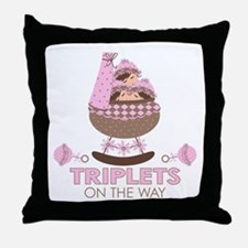 Triplet Girls On Way Throw Pillow