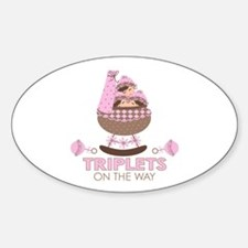 Triplet Girls On Way Oval Decal
