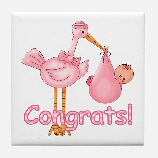 Congrats! Pink Stork Tile Coaster