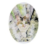 Calico Cat In Tree Oval Ornament