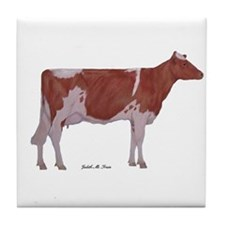 red and white holstein Tile Coaster