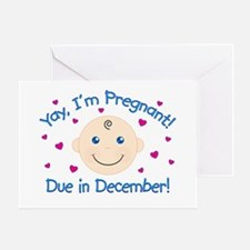 Pregnant Due December Greeting Card
