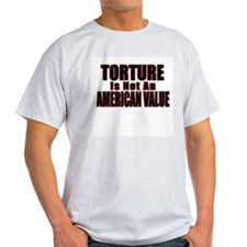 Torture Not an American Value Ash Grey T-Shirt