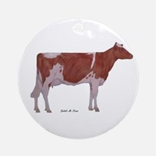red and white holstein Ornament (Round)