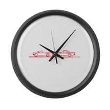 Two 57 T Birds Red Large Wall Clock