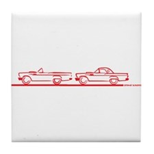 Two 57 T Birds Red Tile Coaster