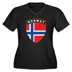 Norway Women's Plus Size V-Neck Dark T-Shirt