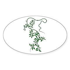 leafy green vine Oval Sticker (50 pk)