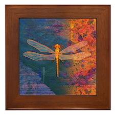 Flaming Dragonfly Framed Tile
