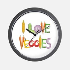 I Love Veggies small wall clock