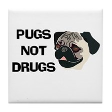 Pugs Not Drugs Tile Coaster