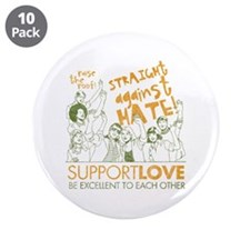 """Straight Against Hate 3.5"""" Button (10 pack)"""