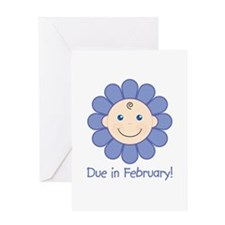 Due in February Baby Boy Greeting Card