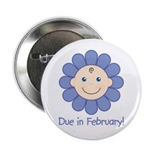 """Due in February Baby Boy 2.25"""" Button"""