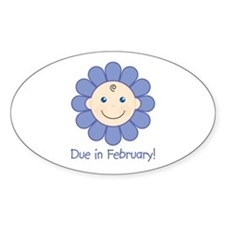 Due in February Baby Boy Oval Decal