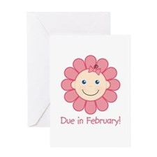 Due in February Baby Girl Greeting Card