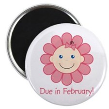 """Due in February Baby Girl 2.25"""" Magnet (100 pack)"""