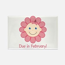 Due in February Baby Girl Rectangle Magnet