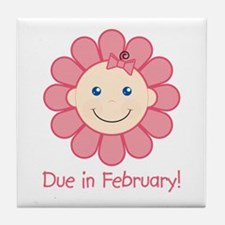 Due in February Baby Girl Tile Coaster