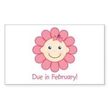 Due in February Baby Girl Rectangle Decal