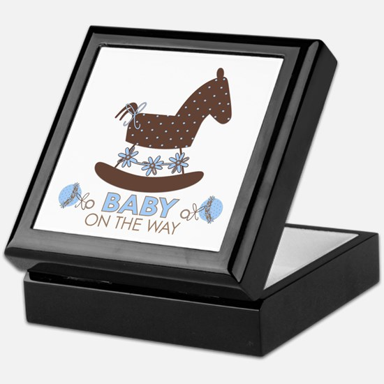 Baby Boy Rocking Horse Keepsake Box
