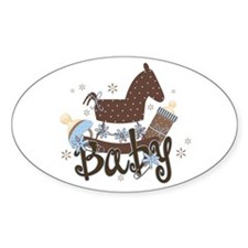 Baby Boy Rocking Horse Oval Decal
