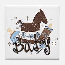 Baby Boy Rocking Horse Tile Coaster