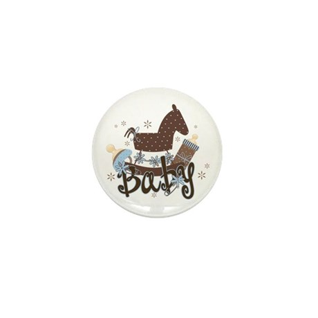 Baby Boy Rocking Horse Mini Button (10 pack)