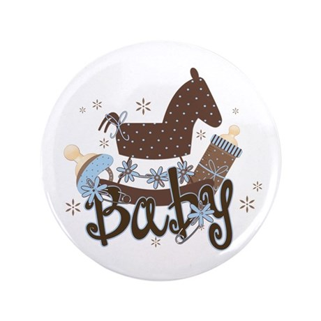 "Baby Boy Rocking Horse 3.5"" Button (100 pack)"