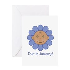 Due in January Baby Boy (aa) Greeting Card