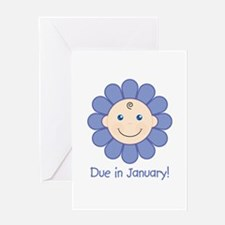 Due in January Baby Boy Greeting Card