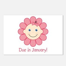 Due in January Baby Girl Postcards (Package of 8)