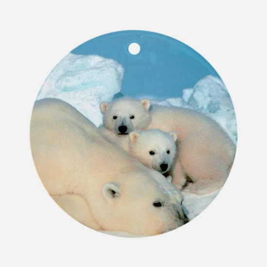 Lazy Polar Bears Ornament (Round)