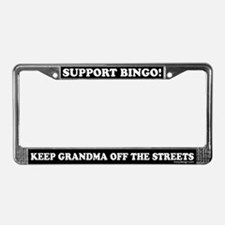 Support Bingo Grandma License Plate Frame