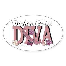 Bichon Frise Diva Oval Decal