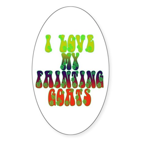 Fainting Goats Oval Decal By Souptonuts
