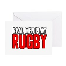 Real Men Play Rugby Greeting Cards (Pk of 20)