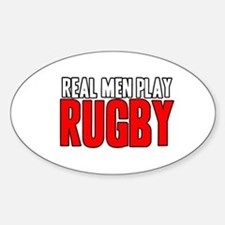 Real Men Play Rugby Oval Decal