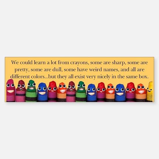 Peaceful Crayons Bumper Car Car Sticker