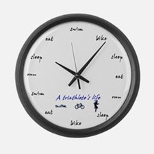 Triathletes Clock Large Wall Clock
