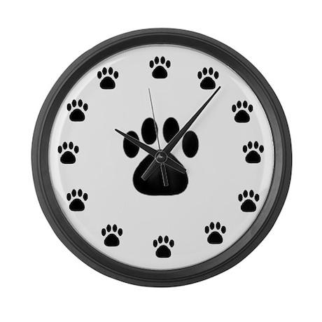 BLACK PAW PRINT Large Wall Clock