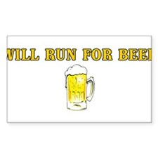 Will Run For Beer Rectangle Decal
