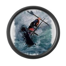 White Water Kayaking Large Wall Clock