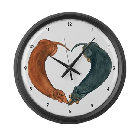 Dachshunds for life Large Wall Clock